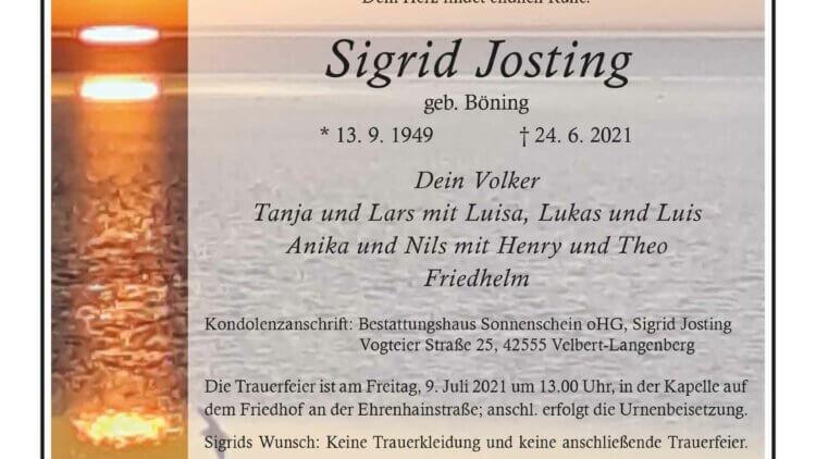 Sigrid Josting † 24. 6. 2021