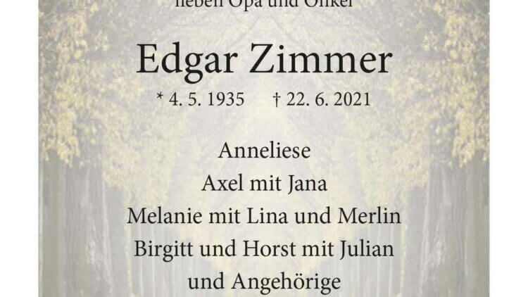 Edgar Zimmer † 22. 6. 2021