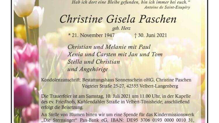 Christine Gisela Paschen † 30. 6. 2021