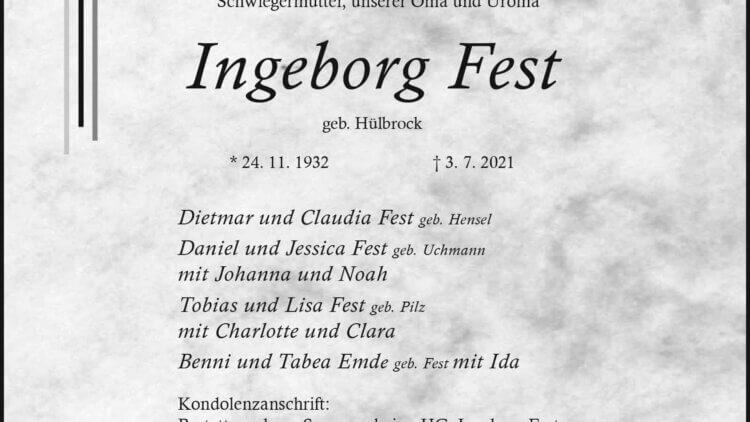Ingeborg Fest † 3. 7. 2021