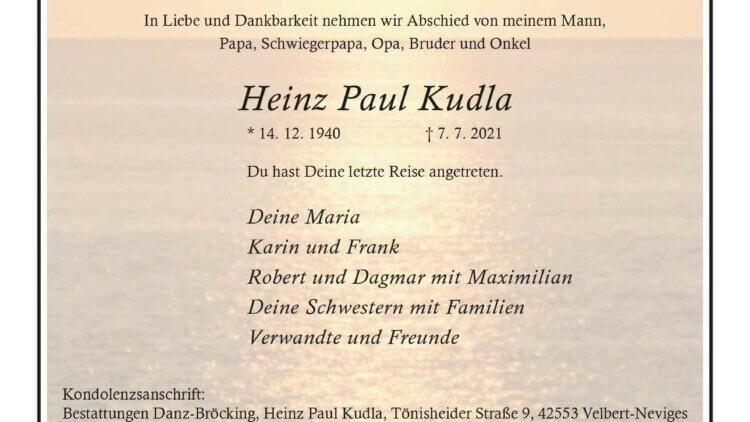 Heinz Paul Kudla † 7. 7. 2021