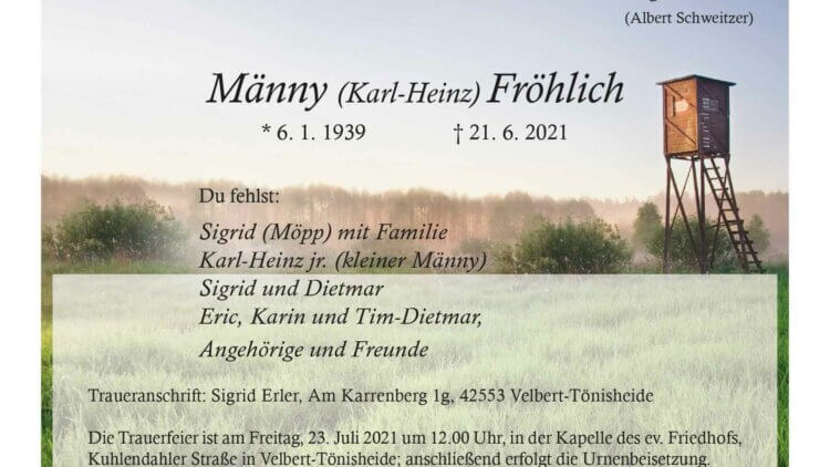 Männy Fröhlich † 21. 6. 2021