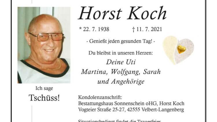 Horst Koch † 11. 7. 2021