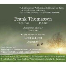 Frank Thomassen † 13. 7. 2021