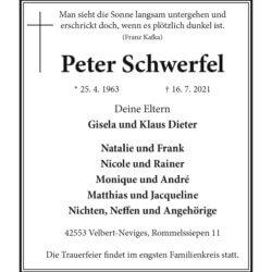 Peter Schwerfel † 16. 7. 2021