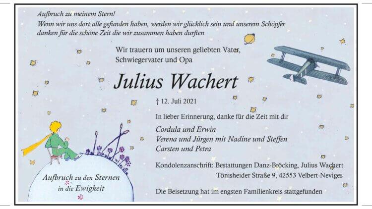 Julius Wachert † 12. 7. 2021