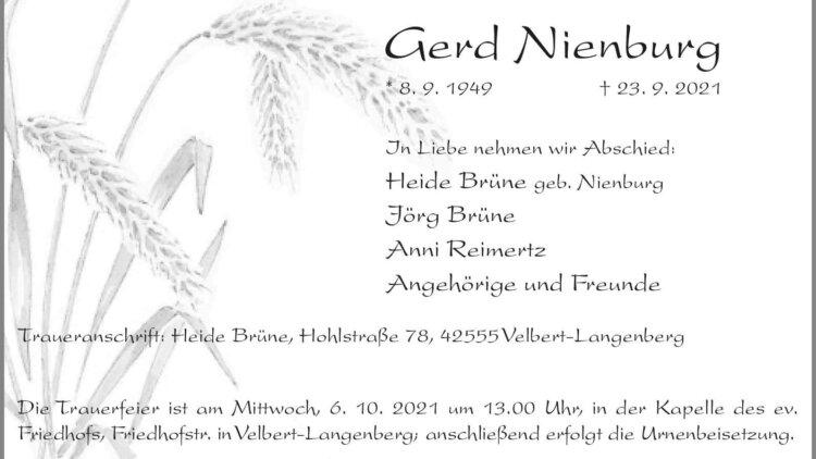 Gerd Nienburg † 23. 9. 2021