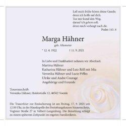 Marga Hähner † 11. 9. 2021