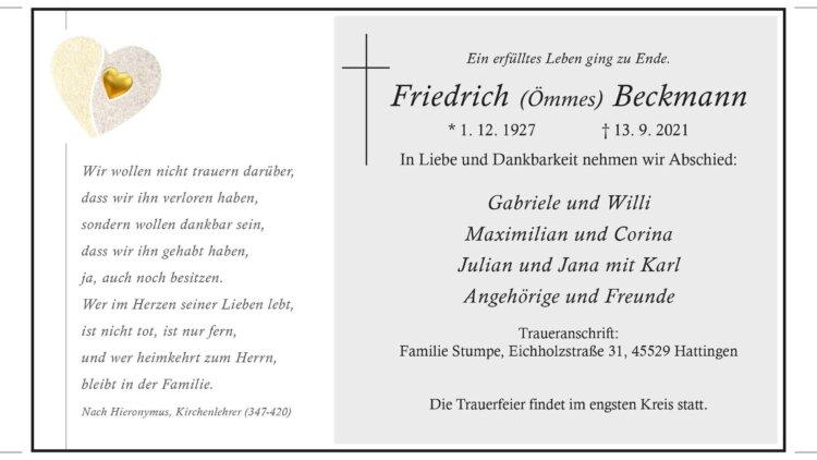 Friedrich Beckmann † 13. 9. 2021