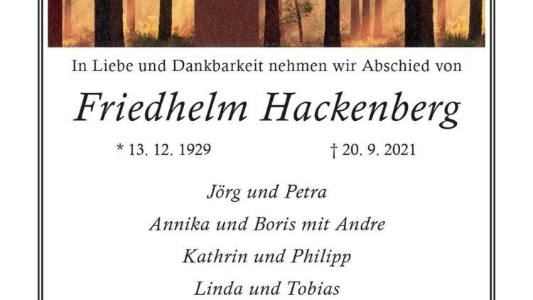 Friedhelm Hackenberg † 20. 9. 2021
