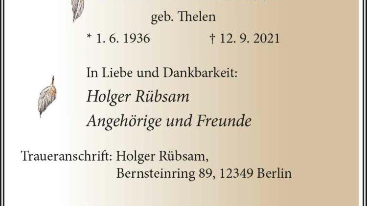 Anita Rübsam † 12. 9. 2021