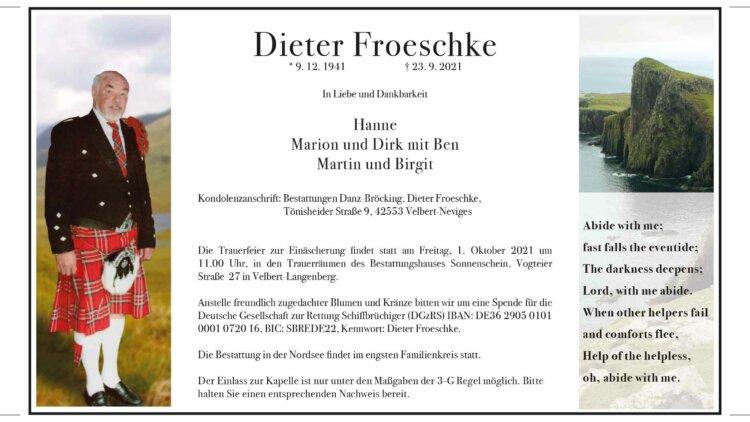 Dieter Froeschke † 23. 9. 2021