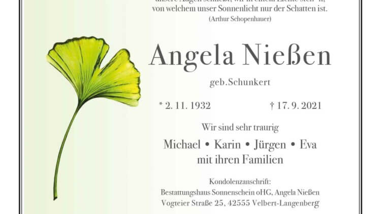 Angela Nießen † 17. 9. 2021