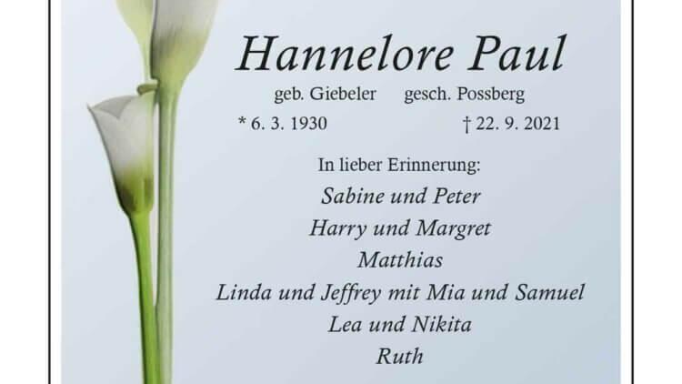 Hannelore Paul † 22. 9. 2021