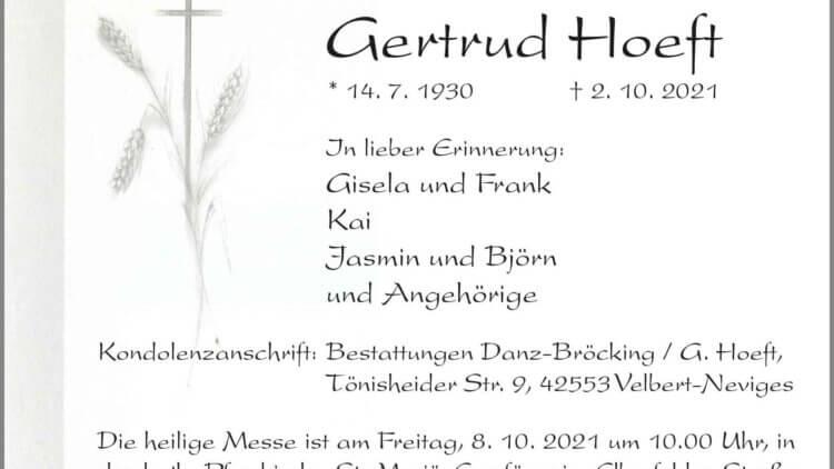 Gertrud Hoeft † 2. 10. 2021
