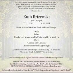 Ruth Brizewski † 4. 10. 2021