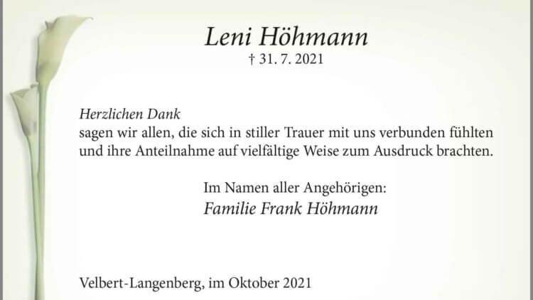 Leni Höhmann -Danksagung-