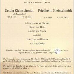 Ursula † 8. 10. 2021 & Friedhelm † 11. 10. 2021 Kleinschmidt