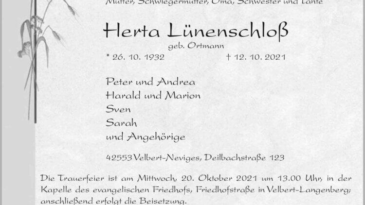 Herta Lünenschloß † 12. 10. 2021